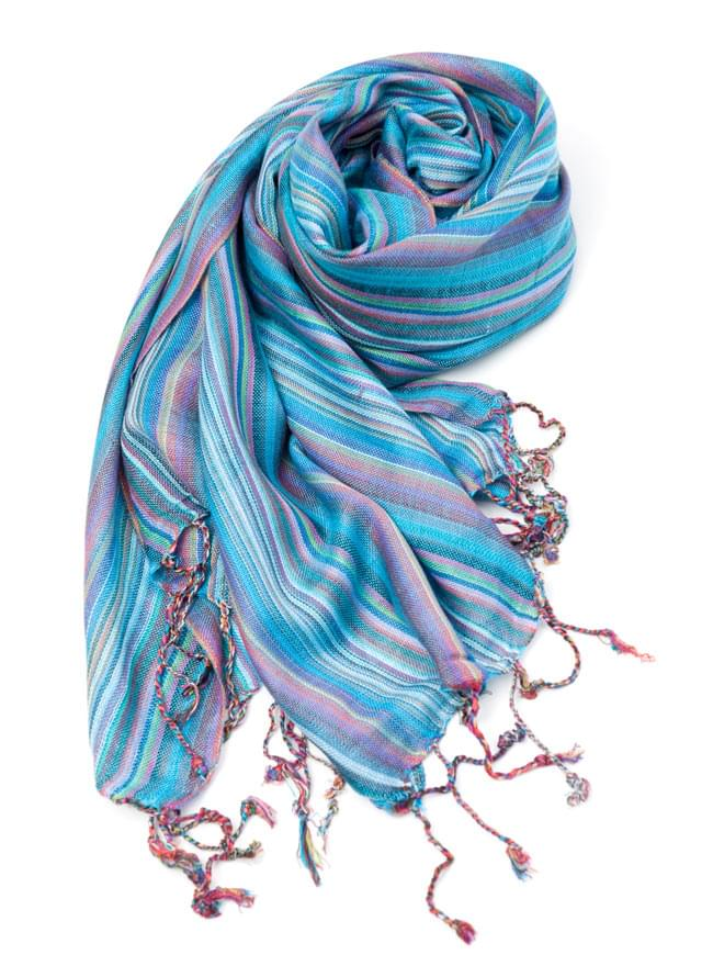 カラフルストライプスカーフ - 水色系の写真