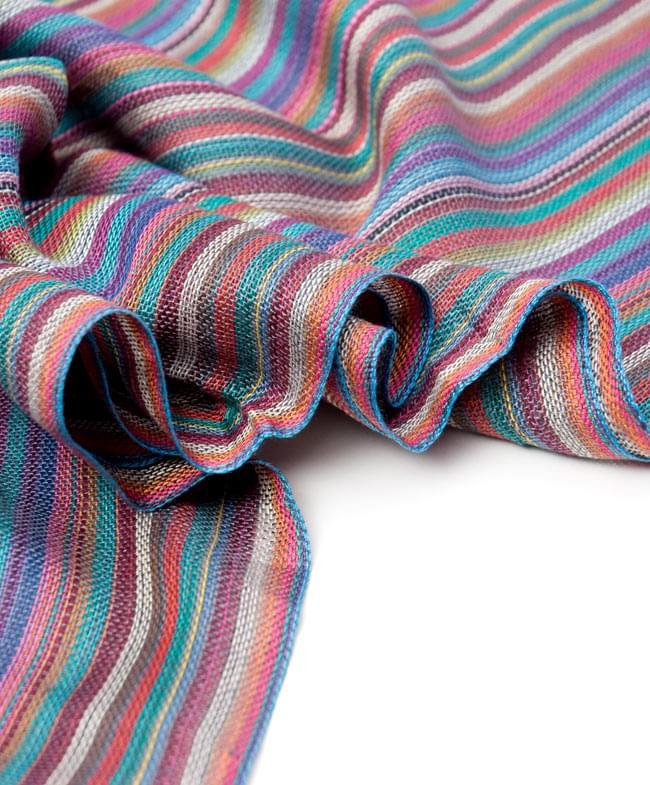 カラフルストライプスカーフ - 薄紫系の写真3 - とても柔らかいビスコース素材です。