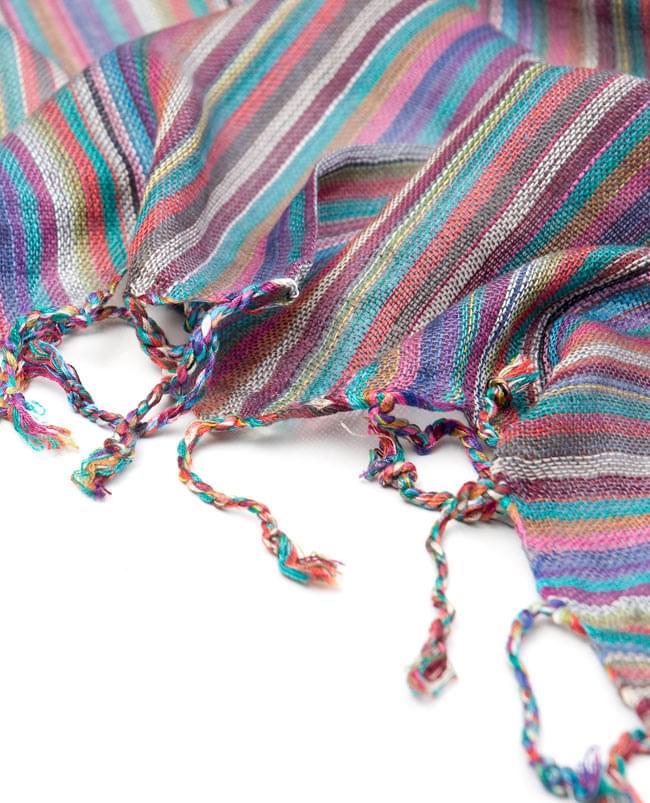 カラフルストライプスカーフ - 薄紫系の写真4 - フリンジ部分はこんな感じです。