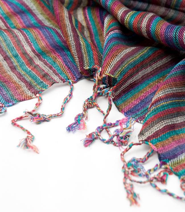 カラフルストライプスカーフ - 紫系の写真4 - フリンジ部分はこんな感じです。