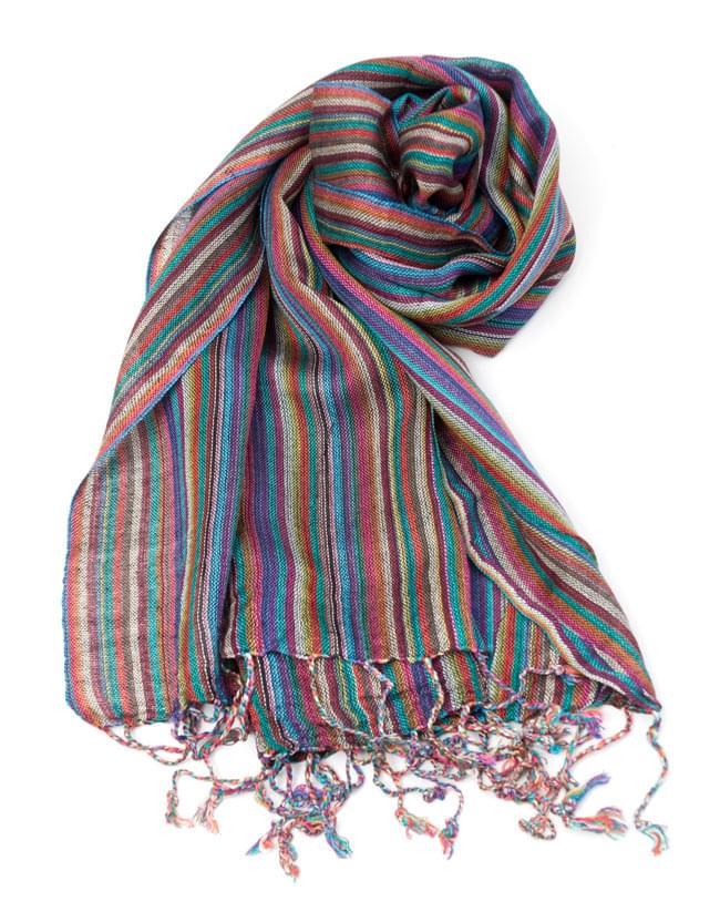 カラフルストライプスカーフ - 紫系の写真