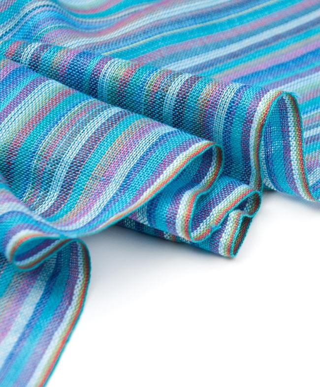 カラフルストライプスカーフ - 水色系 3 - とても柔らかいビスコース素材です。