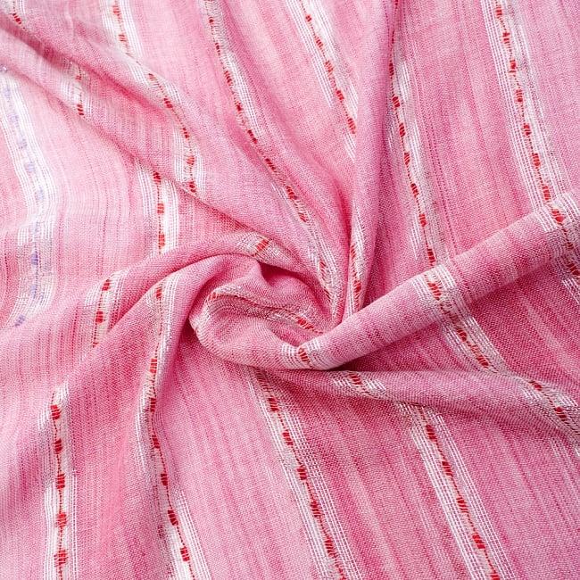 カラフルストライプスカーフ- - 薄ピンク系の写真5 - ファッション用だけではなくインテリアファブリックとしても