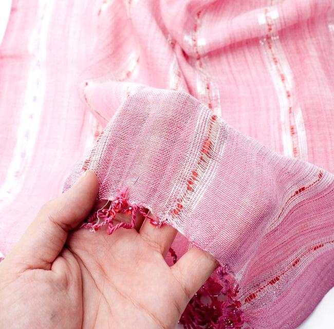 カラフルストライプスカーフ- - 薄ピンク系の写真7 - このような質感になります
