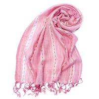 カラフルストライプスカーフ- - 薄ピンク系