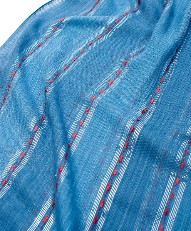 カラフルストライプスカーフ- - 青系の写真4 - 色彩豊かなインドらしい綺麗な生地です