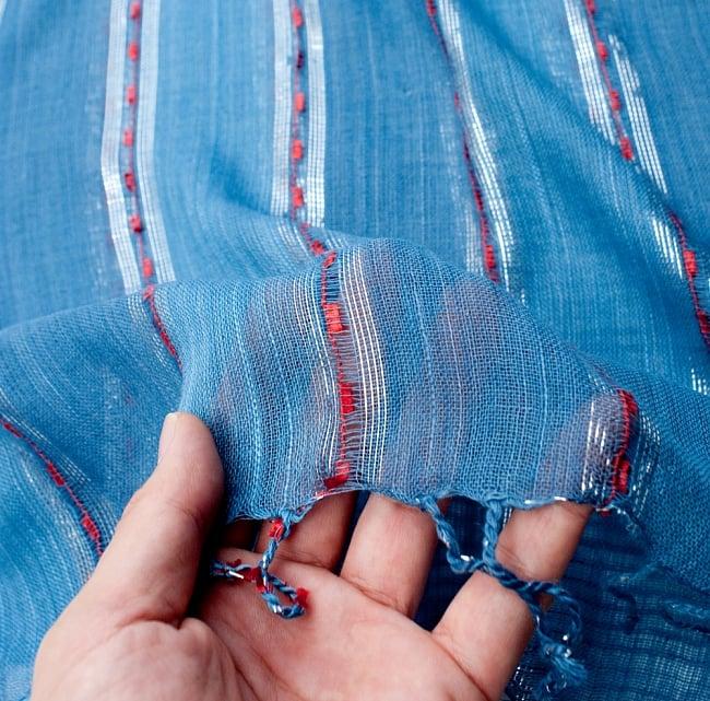 カラフルストライプスカーフ- - 青系の写真7 - このような質感になります