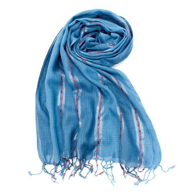 カラフルストライプスカーフ- - 青系の写真