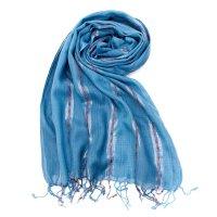 カラフルストライプスカーフ- - 青系