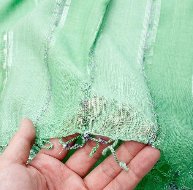 カラフルストライプスカーフ- - 緑系の写真7 - このような質感になります