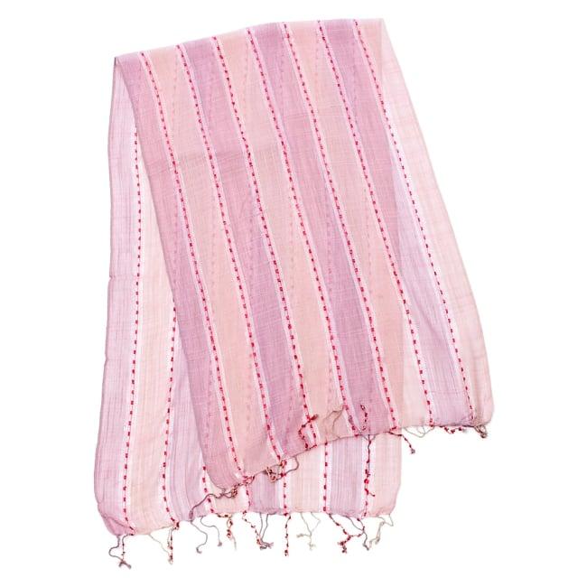 カラフルストライプスカーフ- - 薄ピンク系の写真2 - 全体写真です