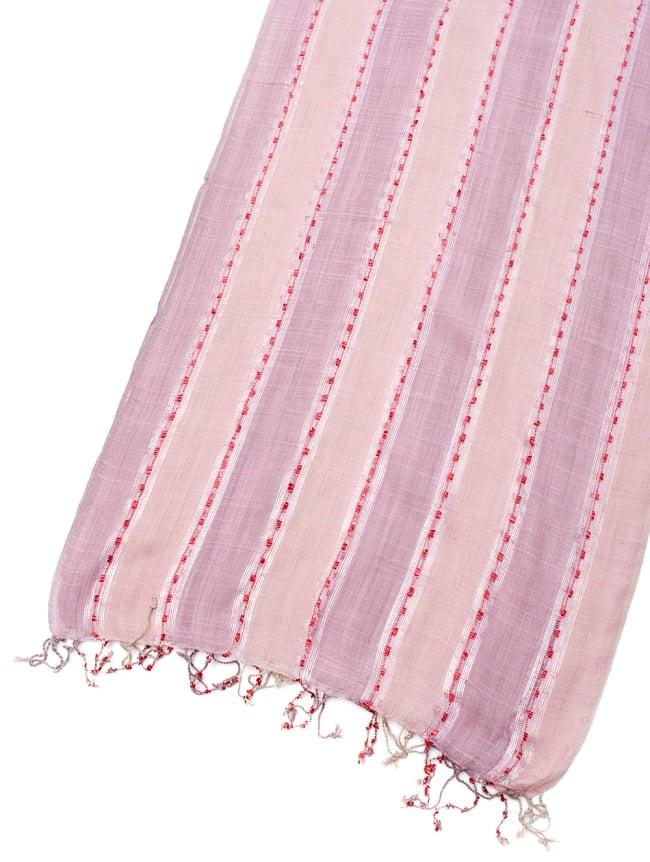 カラフルストライプスカーフ- - 薄ピンク系の写真3 - 拡大写真です