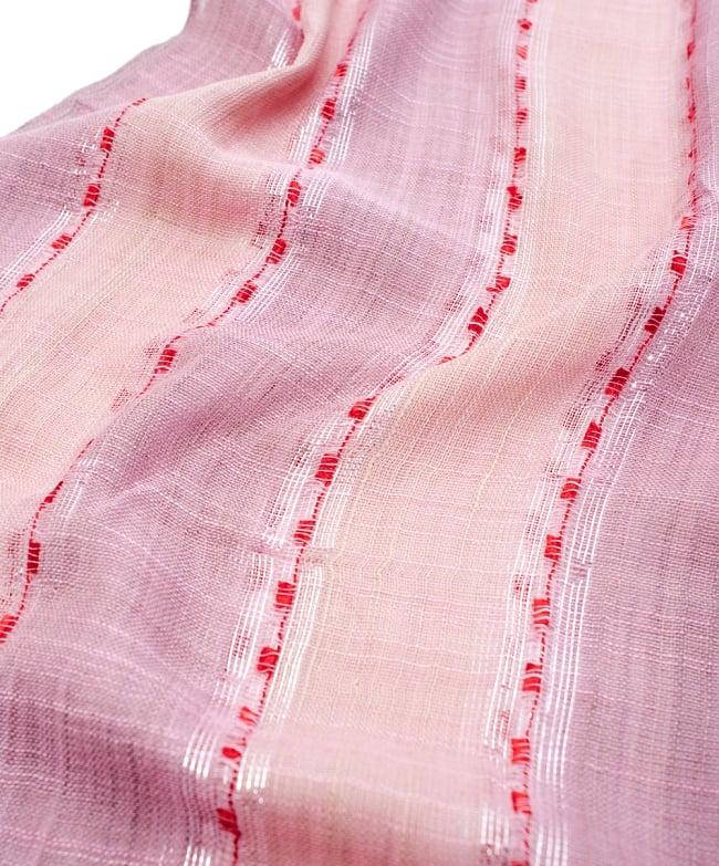 カラフルストライプスカーフ- - 薄ピンク系の写真4 - 色彩豊かなインドらしい綺麗な生地です