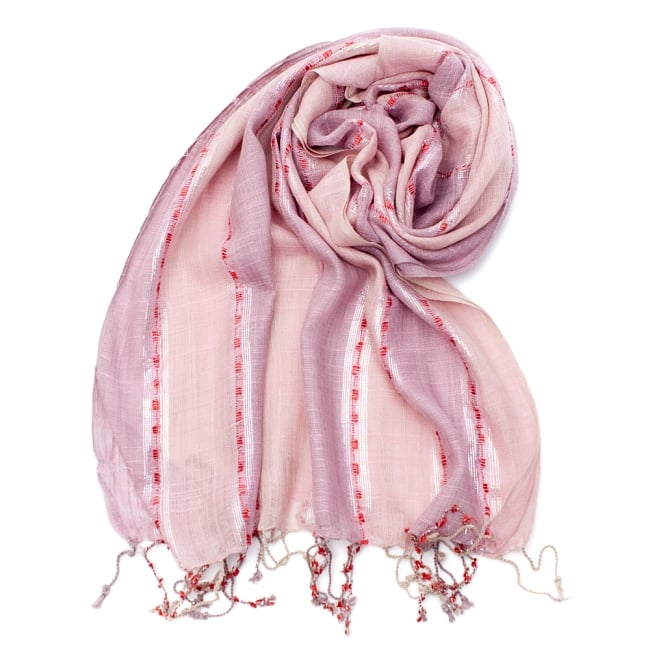 カラフルストライプスカーフ- - 薄ピンク系の写真