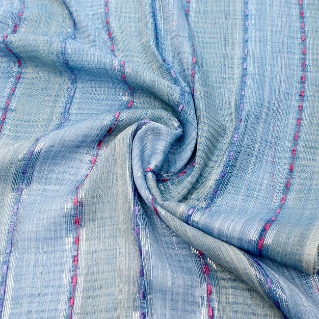 カラフルストライプスカーフ- - 青×ベージュ系の写真5 - ファッション用だけではなくインテリアファブリックとしても