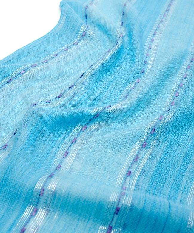 カラフルストライプスカーフ- - 水色系×紫ライン 4 - 色彩豊かなインドらしい綺麗な生地です