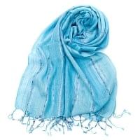 カラフルストライプスカーフ- - 水色系×紫ライン