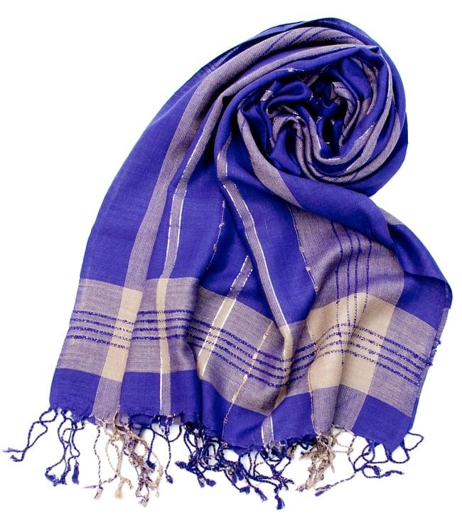カラフルストライプスカーフ- - 紫系の写真