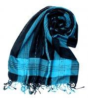 カラフルストライプスカーフ- - 黒×青系