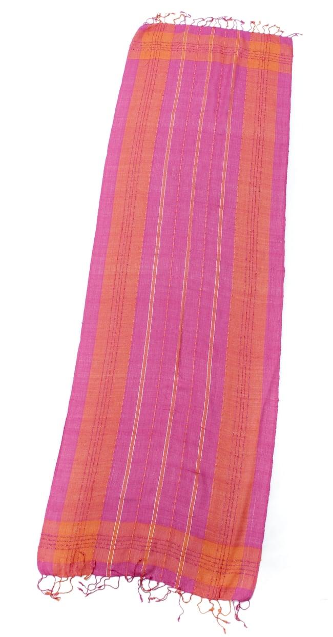カラフルストライプスカーフ- - ピンク×オレンジ系の写真2 - 全体写真です