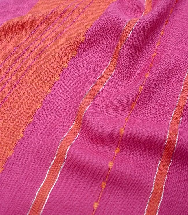 カラフルストライプスカーフ- - ピンク×オレンジ系の写真4 - 色彩豊かなインドらしい綺麗な生地です
