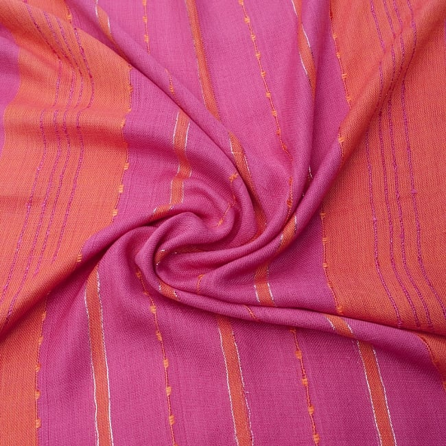 カラフルストライプスカーフ- - ピンク×オレンジ系の写真5 - ファッション用だけではなくインテリアファブリックとしても