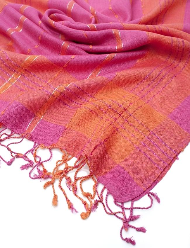 カラフルストライプスカーフ- - ピンク×オレンジ系の写真6 - フチ部分の写真です