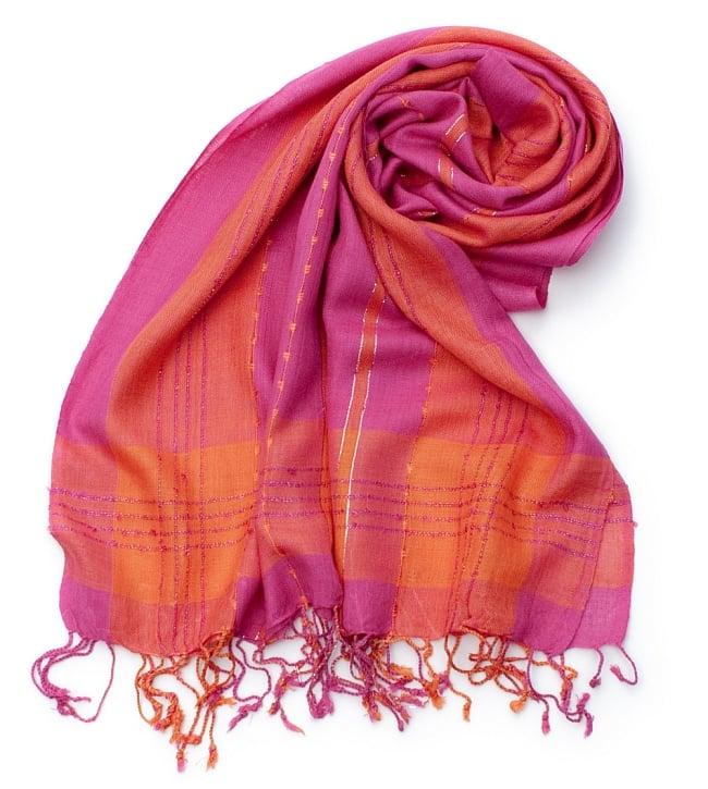 カラフルストライプスカーフ- - ピンク×オレンジ系の写真