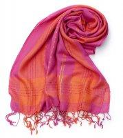 カラフルストライプスカーフ- - ピンク×オレンジ系