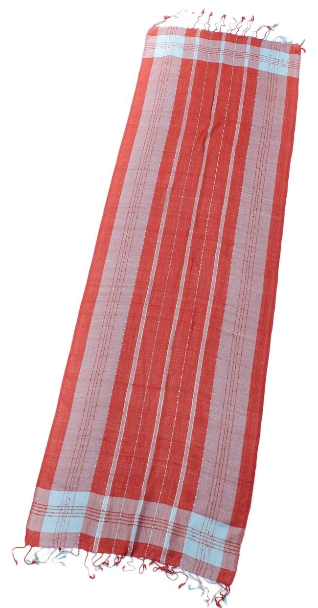 カラフルストライプスカーフ- - オレンジ×水色系の写真2 - 全体写真です