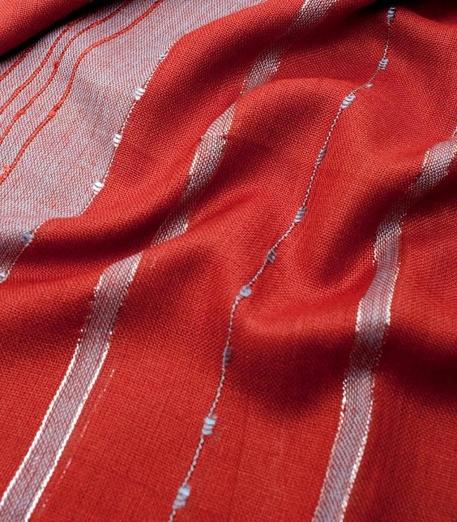 カラフルストライプスカーフ- - オレンジ×水色系の写真4 - 色彩豊かなインドらしい綺麗な生地です