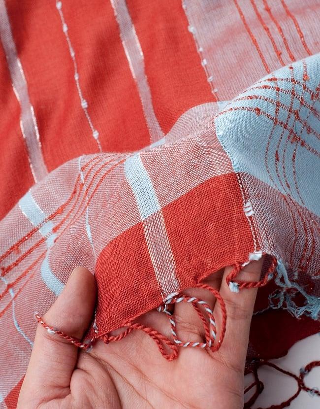 カラフルストライプスカーフ- - オレンジ×水色系の写真7 - このような質感になります