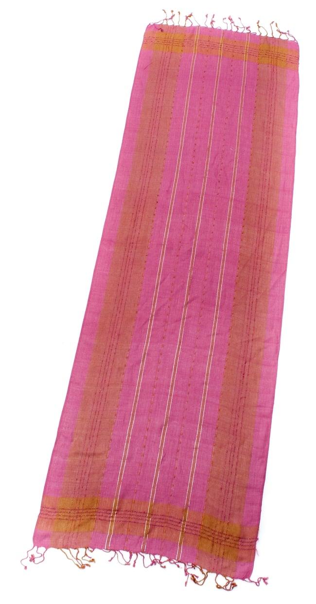 カラフルストライプスカーフ- - ピンク×山吹茶系の写真2 - 全体写真です