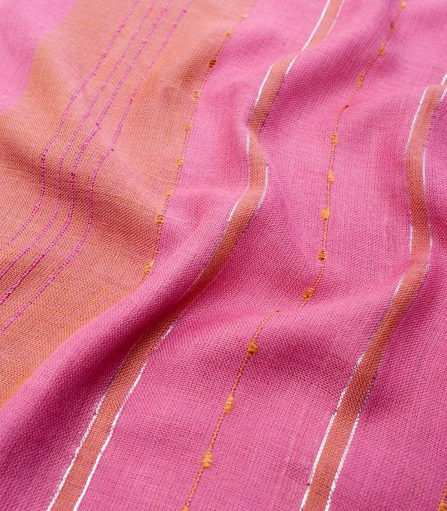 カラフルストライプスカーフ- - ピンク×山吹茶系の写真4 - 色彩豊かなインドらしい綺麗な生地です