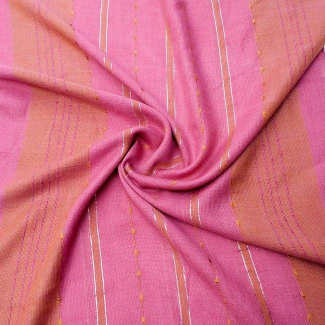 カラフルストライプスカーフ- - ピンク×山吹茶系の写真5 - ファッション用だけではなくインテリアファブリックとしても