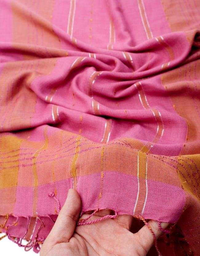 カラフルストライプスカーフ- - ピンク×山吹茶系の写真7 - このような質感になります