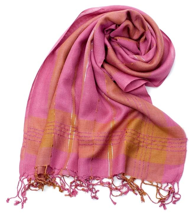 カラフルストライプスカーフ- - ピンク×山吹茶系の写真
