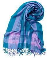 カラフルストライプスカーフ- - 青緑×ピンク系