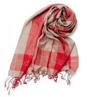 カラフルストライプスカーフ- - 赤×スモーキーベージュ系