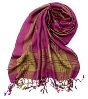 カラフルストライプスカーフ- - 紫×抹茶系