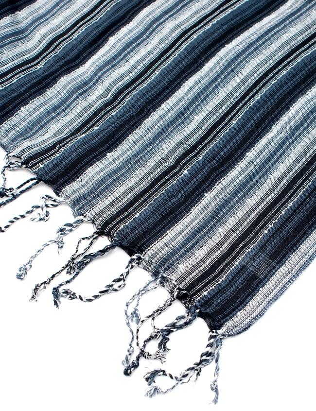 カラフルストライプスカーフ- - 黒×白×グレー系の写真6 - フチ部分の写真です