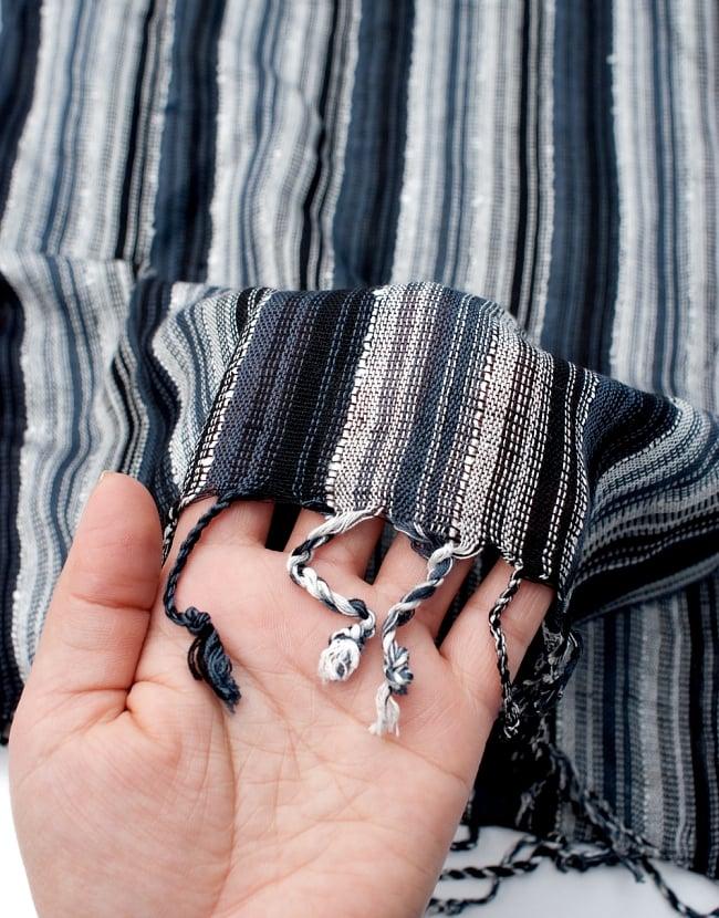 カラフルストライプスカーフ- - 黒×白×グレー系の写真7 - このような質感になります