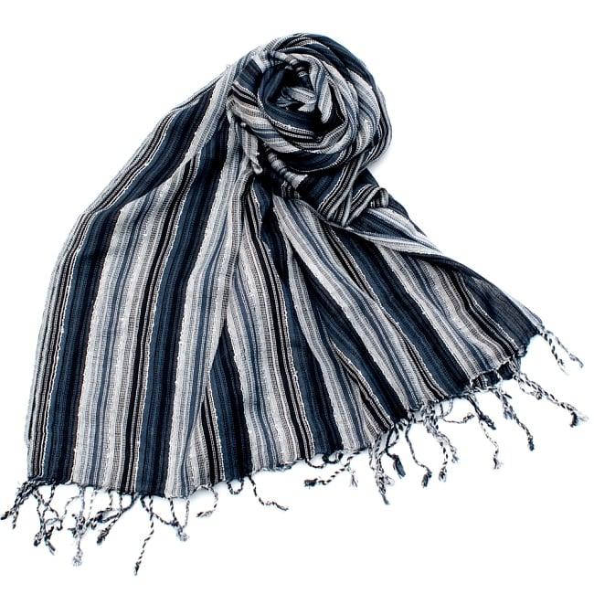 カラフルストライプスカーフ- - 黒×白×グレー系の写真