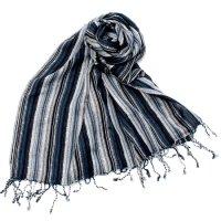 カラフルストライプスカーフ- - 黒×白×グレー系