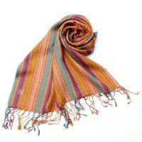 カラフルストライプスカーフ- - オレンジ×黄色×紫×青緑系
