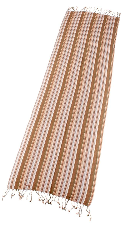 カラフルストライプスカーフ- - 茶色×白×カーキ系の写真2 - 全体写真です