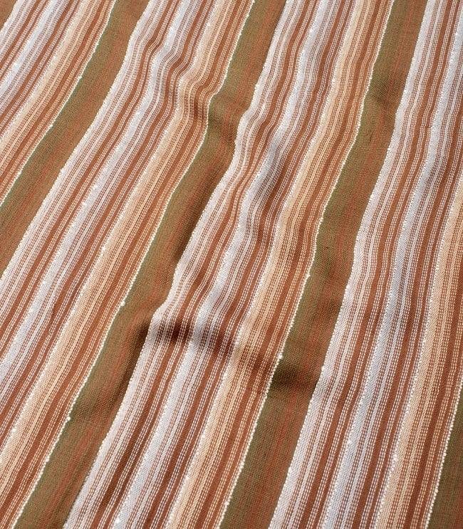 カラフルストライプスカーフ- - 茶色×白×カーキ系の写真4 - 色彩豊かなインドらしい綺麗な生地です