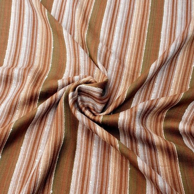 カラフルストライプスカーフ- - 茶色×白×カーキ系の写真5 - ファッション用だけではなくインテリアファブリックとしても