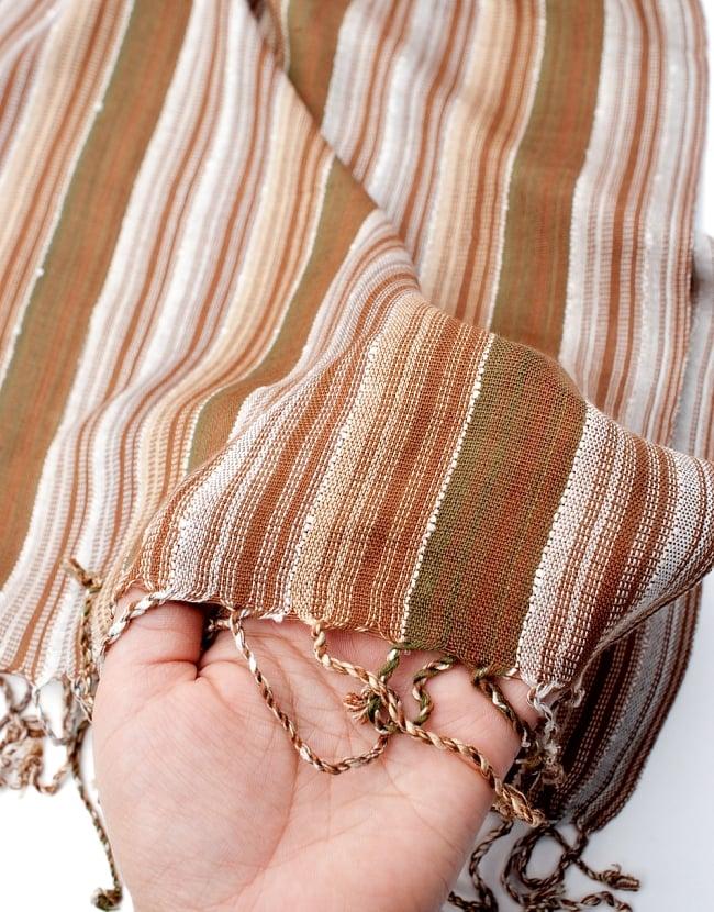 カラフルストライプスカーフ- - 茶色×白×カーキ系の写真7 - このような質感になります