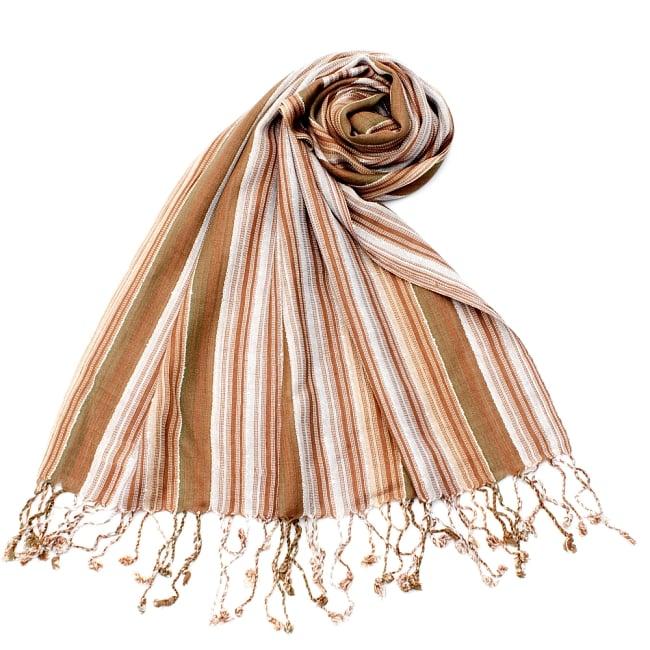 カラフルストライプスカーフ- - 茶色×白×カーキ系の写真